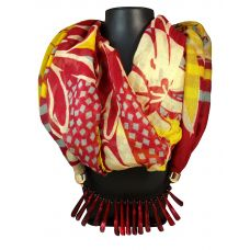Dark Maroon Blunt Spikes Lockets Yellow-Red Multi color Abstract Pattern Scarf Necklace for Women