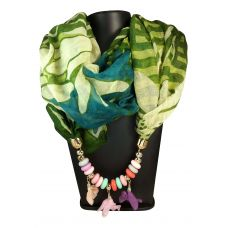 Beads and Hanging Floral Charms Pastel and Dark Green Abstract Pattern Scarf Necklace for Women