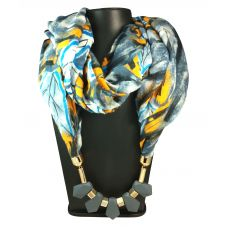 Silicon Coated Chunky Pendants Light Grey Abstract Pattern Scarf Necklace for Women