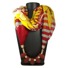 Silicon Coated Chunky Pendants Red-Yellow Abstract Pattern Scarf Necklace for Women