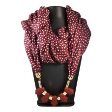 Silicon Coated Chunky Pendants White Polka Dots Dark Maroon Scarf Necklace for Women