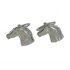 Rhodium Plated Horse Silver Cufflinks for Men