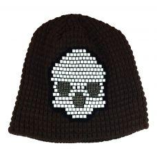 Tetris Skull Pattern Dark Brown Beanie  & skull cap / Unisex beanie