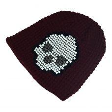 Tetris Skull Pattern Rust Red Beanie  & skull cap / Unisex beanie