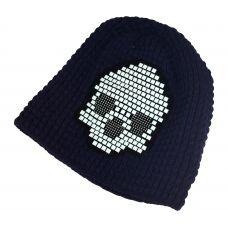 Tetris Skull Pattern Navy Blue Beanie  & skull cap / Unisex beanie