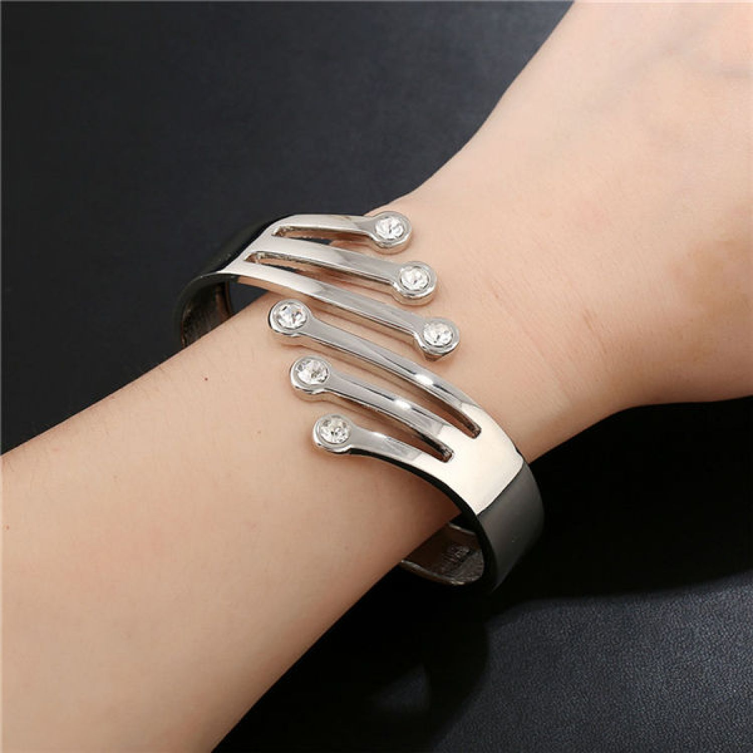 a53eff0d705 Cute Crystals Silver Plated Designer Cuff Bracelet for Women