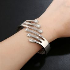 Cute Crystals Silver Plated Designer Cuff Bracelet for Women
