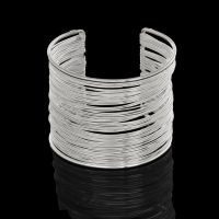 Layered Wire Silver Plated Open Wide Cuff Bracelet for Women