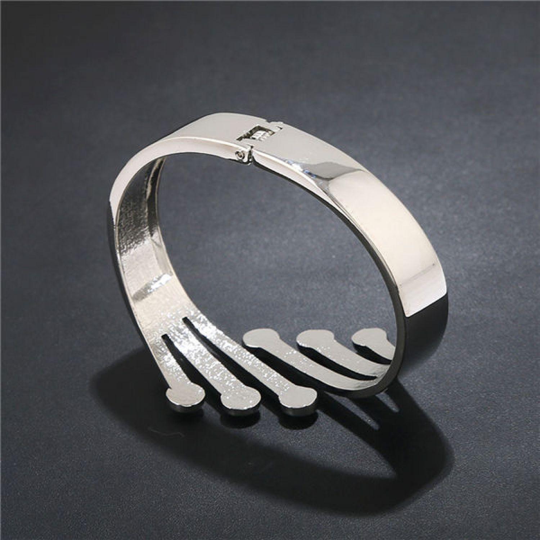 de877497581 Cute Crystals Silver Plated Designer Cuff Bracelet for Women. Image. Image.  Image. Image