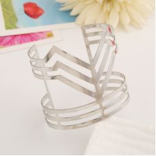 Vintage Curved Statement Silver Polished Alloy Adjustable Cuff Bracelet for Women