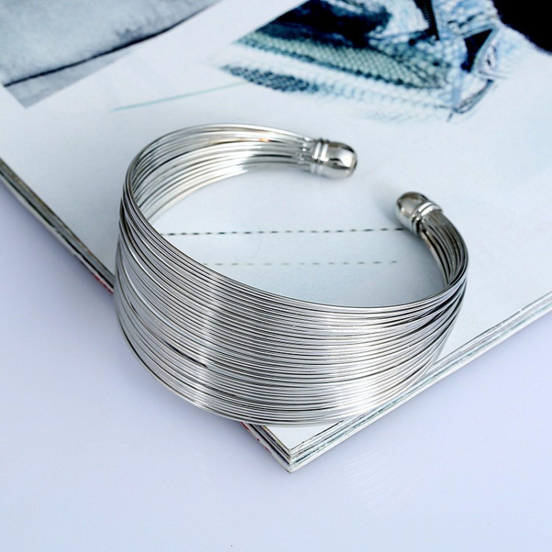 b082781ee5f Wonderful Wires Silver Plated Wide Open Adjustable Cuff Bracelet for Women  ...