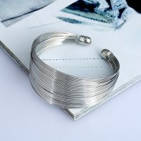 Wonderful Wires Silver Plated Wide Open Adjustable Cuff Bracelet for Women