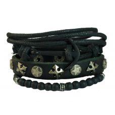 Set of Three Uber Gothic Black Anchor Combination Bracelet for Men