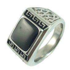 Big Aand Chunky Greek Symbol Electro Plated 316L Stainless Steel Ring for Men