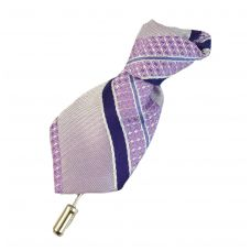 Light Purple and Blue Striped Tie Shaped Fabric Lapel Pin Brooch for Men