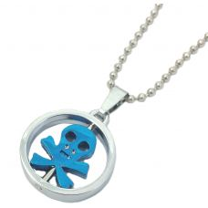 Funky Skull Rotating 316L Stainless Steel Pendant for Men with Beaded Ball Chain