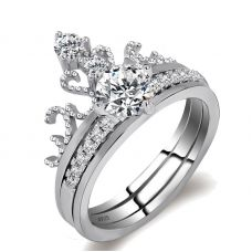 Luxury Platinum Plated Crown Twin Ring for Women