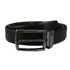 Electro-Black Finish Alloy Buckle Exclusive Double Sided Brush Stroke Pattern Genuine Leather Belt for Men