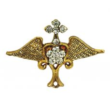 Gold Plated CZ Embellished Open Wings Insignia Executive Brooch Lapel Pin Shirt Brooches  for Men