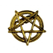 Antique Finish Pentacle Brooch Lapel Pin Shirt Brooches for Men