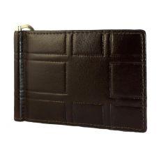 3D Pattern Genuine Leather Money Clip Wallet for Men Brown