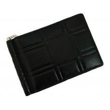3D Pattern Genuine Leather Money Clip Wallet for Men Black