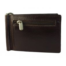 Front Coin Zipper Genuine Leather Money Clip Wallet for Men Brown