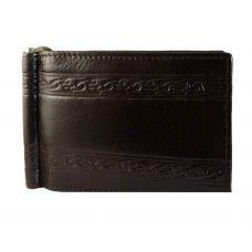 Engraved Lines Genuine Leather Money Clip Wallet for Men Brown