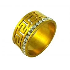 Greek Insignia CZ Embellished Gold Plated Band Ring