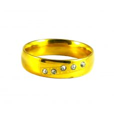 CZ Embellished Gold Plated Band Ring