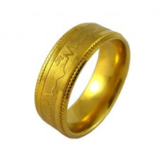 Gold Plated Engraved Band Ring for Men