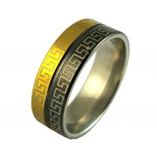 Greek Engravings Dual Tone Band Ring for Men