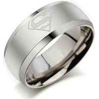 Superman Rhodium Plated Band Ring for Men