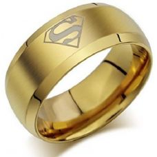 Superman Gold Plated Band Ring for Men
