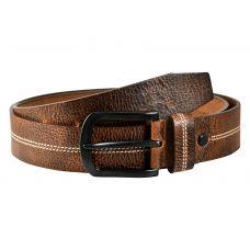 Gunmetal Black Buckle Genuine Leather Casual Belt for Men (Tan)