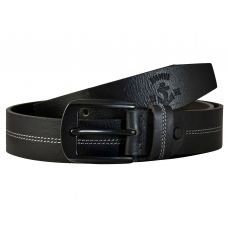 Gunmetal Black Buckle Genuine Leather Casual Belt for Men (Black)