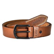 Contrast Tail Stitches Gunmetal Black Buckle Genuine Leather Casual Belt for Men (Tan)