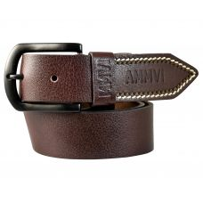 Contrast Tail Stitches Gunmetal Black Buckle Genuine Leather Casual Belt for Men (Coffee Brown)
