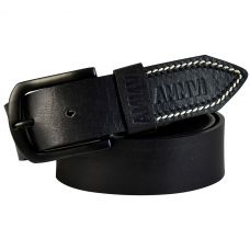 Contrast Tail Stitches Gunmetal Black Buckle Genuine Leather Casual Belt for Men (Black)
