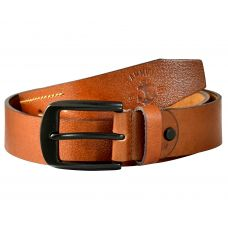 Gunmetal Black Buckle Genuine Leather Casual Belt for Men (Tan)