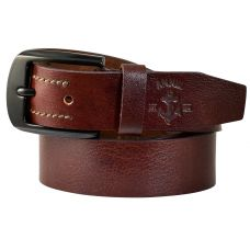 Gunmetal Black Buckle Genuine Leather Casual Belt for Men (Brown)