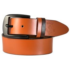 Duo-Tone Loops Gunmetal Black Buckle Smooth Genuine Leather Casual Belt for Men (British Tan)