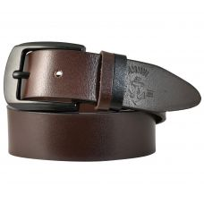 Duo-Tone Loops Gunmetal Black Buckle Smooth Genuine Leather Casual Belt for Men (Coffee Brown)