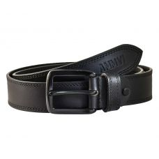 Double Row Stitched Gunmetal Black Buckle Genuine Leather Casual Belt for Men (Black)