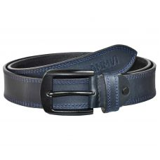 Double Row Stitched Gunmetal Black Buckle Genuine Leather Casual Belt for Men (Prussian Blue)