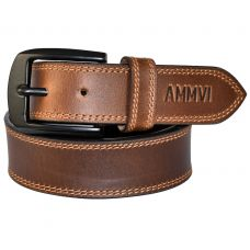 Double Row Stitched Gunmetal Black Buckle Genuine Leather Casual Belt for Men (Tan)