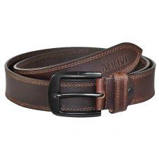 Double Row Stitched Gunmetal Black Buckle Genuine Leather Casual Belt for Men (Coffee Brown)