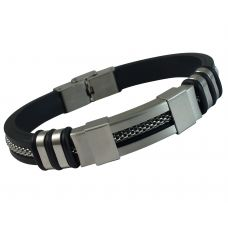 Inlaid Mesh Cable 316L Stainless Steel Badge and Silicon Strap Bracelet for Men