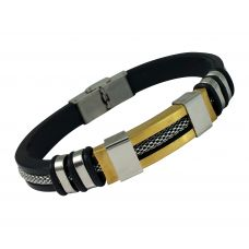 Inlaid Mesh Cable Two-Tone  316L Stainless Steel Badge and Silicon Strap Bracelet for Men