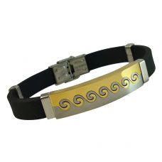 Gold and Silver Two-Tone Chunky Steel Badge Silicon Bracelet for Men